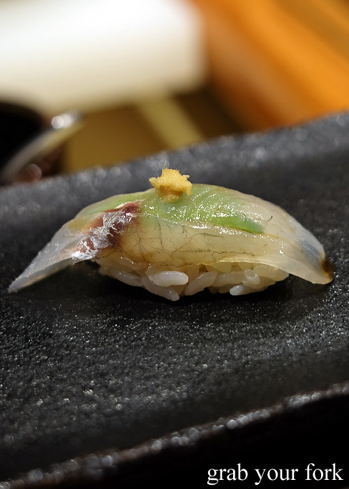 Sand whiting nigiri sushi at Hana Ju-Rin in Crows Nest Sydney