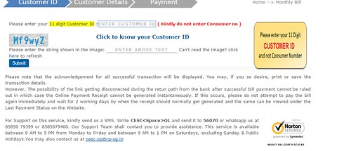 cesc online bill payment through debit card