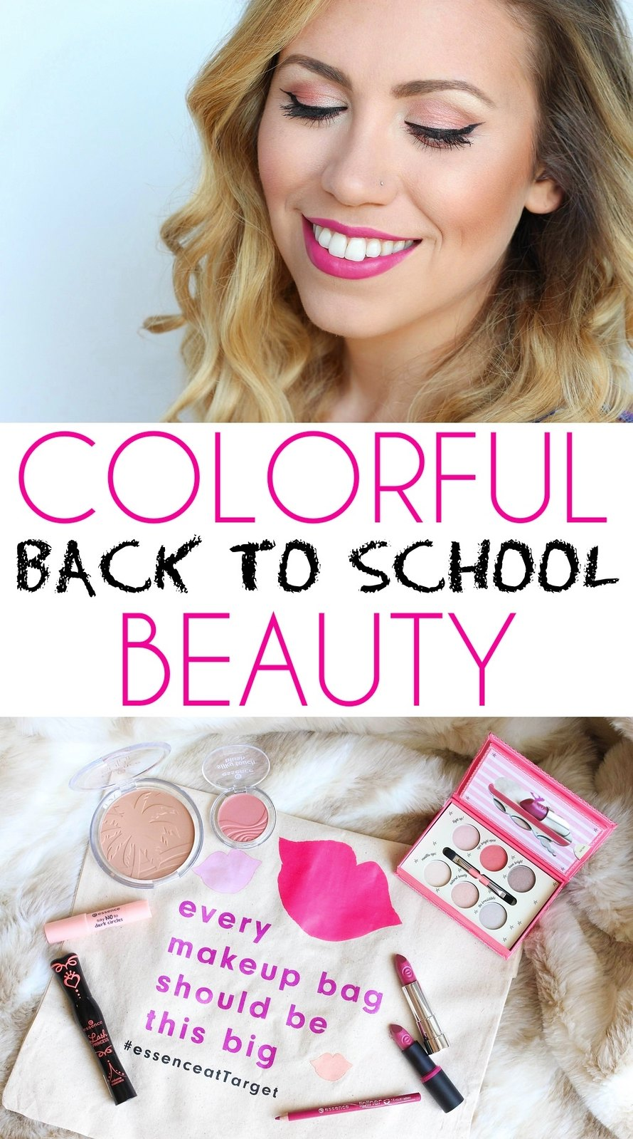 Colorful Summer Makeup with essence cosmetics | Light Pink Eye Makeup Cat Eye | Bold Pink Lipstick | Back to School Makeup at Target | Makeup Tutorial Living After Midnite Blogger Jackie Giardina