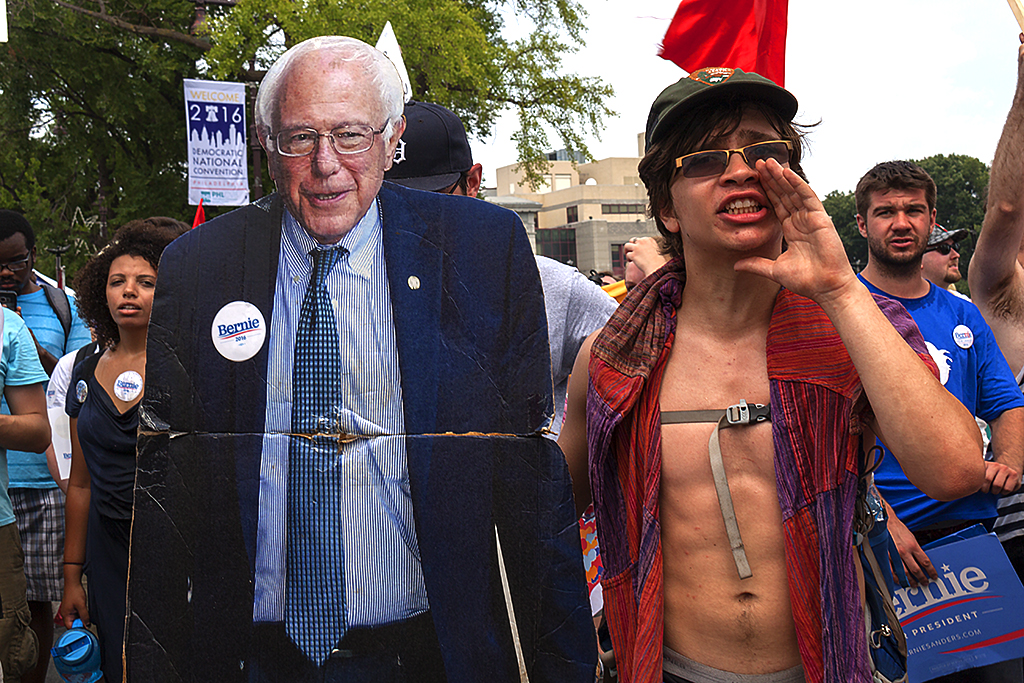 Young man with Bernie standee--South Broad