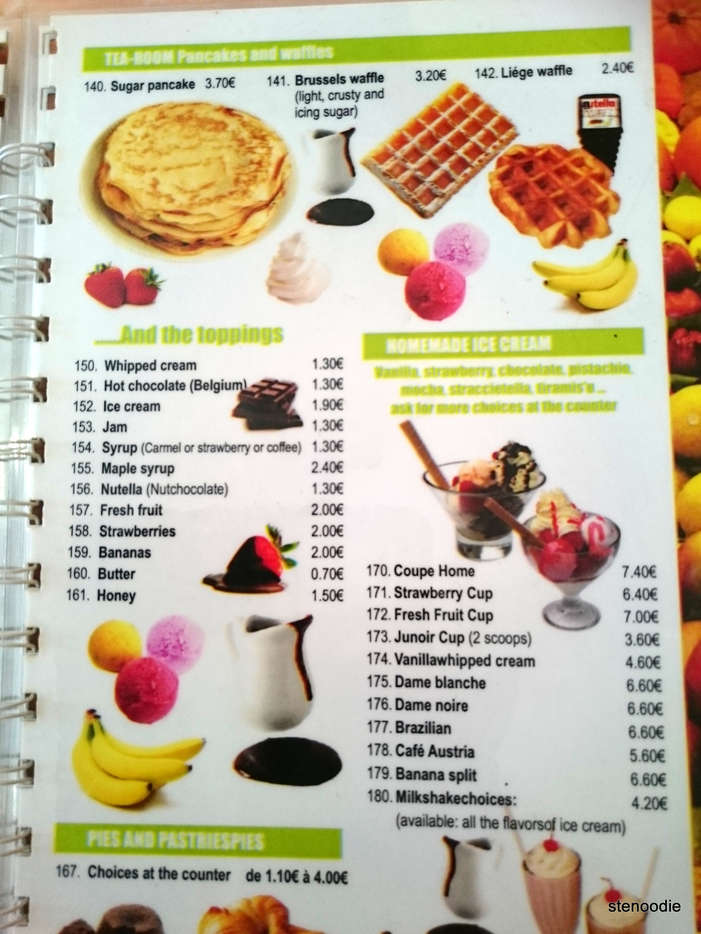 Ijsberg waffles and ice cream menu