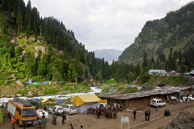 Chandanwari during Amarnath Yatra 2016, Jammu and Kashmir, India