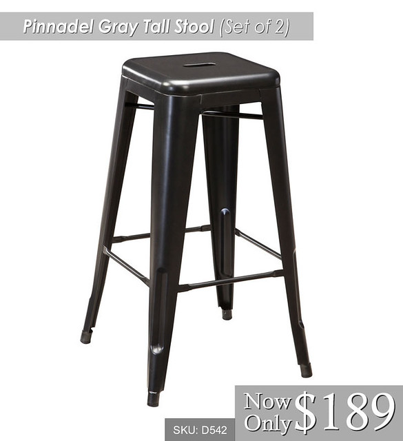 Pinnadel Gray Tall Stool Set of 2