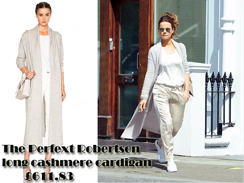 The Perfext Robertson long cashmere sweater with cream satin trousers