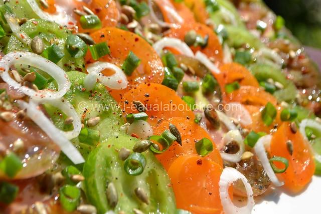 Tomates Multicolores aux Oignons Nouveaux & Graines © Ana Luthi Tous droits réservés 11