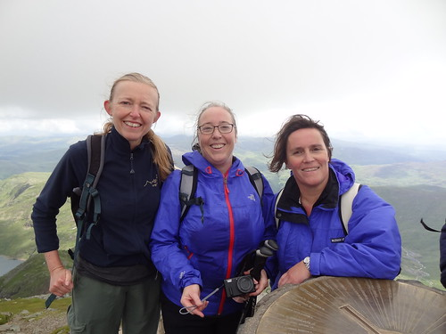 Me, Hazel and Catherine at the Snowdon Summit trig point (1085 m / 3560 ft)